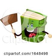 Green Book Mascot Character Holding A Shovel