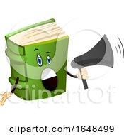 Green Book Mascot Character Using A Megaphone