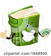 Green Book Mascot Character Holding Cash Money