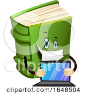 Green Book Mascot Character Holding A Laptop