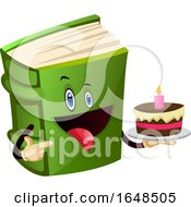 Green Book Mascot Character Holding A Birthday Cake