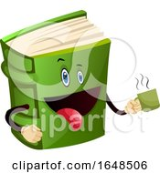 Poster, Art Print Of Green Book Mascot Character Holding A Coffee Cup