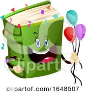Green Book Mascot Character Holding Party Balloons
