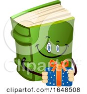 Green Book Mascot Character Holding A Gift
