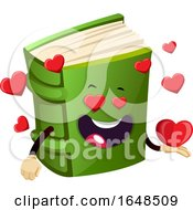 Green Book Mascot Character With Hearts