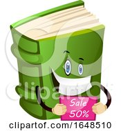 Green Book Mascot Character Holding A Sale Sign by Morphart Creations
