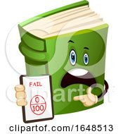 Green Book Mascot Character Holding A Fail Notice by Morphart Creations