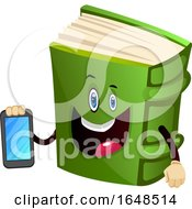 Green Book Mascot Character Holding A Cell Phone