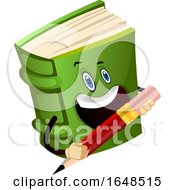 Green Book Mascot Character Holding A Pencil