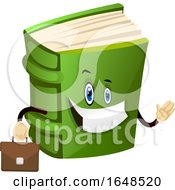 Green Book Mascot Character Holding A Briefcase