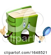 Green Book Mascot Character Holding A Magnifying Glass
