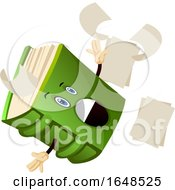 Green Book Mascot Character Slipping And Losing Pages