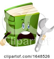 Green Book Mascot Character Holding A Spanner Wrench by Morphart Creations