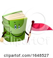 Green Book Mascot Character Holding A Flag