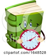 Green Book Mascot Character Holding A Clock