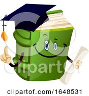 Green Graduate Book Mascot Character