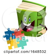 Green Book Mascot Character Holding A Puzzle