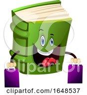 Green Book Mascot Character Carrying Shopping Bags