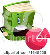 Green Book Mascot Character Holding A Pie Chart