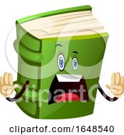 Shocked Green Book Mascot Character