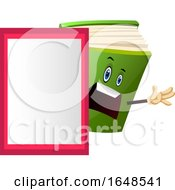 Green Book Mascot Character By A Board