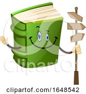 Green Book Mascot Character Holding A Street Sign by Morphart Creations