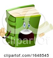 Green Book Mascot Character Holding Blueprints