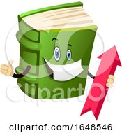 Green Book Mascot Character Holding An Arrow