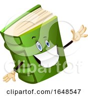 Cheerful Green Book Mascot Character