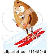Almond Mascot Character Skiing