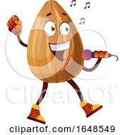 Almond Mascot Character Singing Karaoke