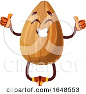 Almond Mascot Character Jumping And Giving Two Thumbs Up