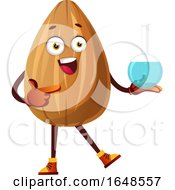 Almond Mascot Character Holding A Science Bottle by Morphart Creations