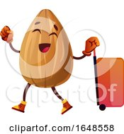 Almond Mascot Character Traveling And Pulling Rolling Luggage