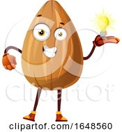 Almond Mascot Character Holding A Light Bulb by Morphart Creations