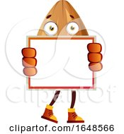 Almond Mascot Character Holding A Blank Board