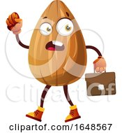 Business Almond Mascot Character Carrying A Briefcase