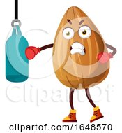 Almond Mascot Character Using A Punching Bag