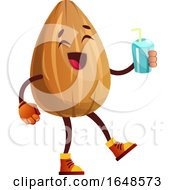 Almond Mascot Character Holding A Beverage by Morphart Creations