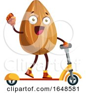 Almond Mascot Character On A Scooter