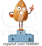 Almond Mascot Character Standing First Place On A Podium