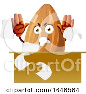 Mad Almond Mascot Character Throwing Papers