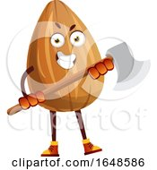 Almond Mascot Character Holding An Axe by Morphart Creations
