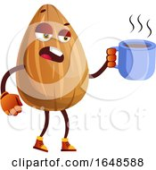 Almond Mascot Character Holding A Cup Of Coffee