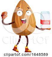Almond Mascot Character Holding A Milk Carton by Morphart Creations