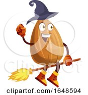 Witch Almond Mascot Character Riding A Broomstick