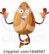 Almond Mascot Character Jumping