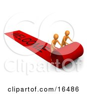 Two Orange People Unrolling A Large And Luxurious Red Carpet For Someone Expecting The Vip Treatment