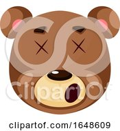 Bear Is Feeling Dizzy Illustration Vector On White Background