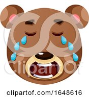 Brown Bear Crying Illustration Vector On White Background